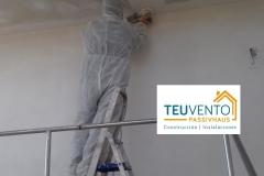 Lijando falso techo de pladur para aplicar posteriormente imprimación y pintura. En TEUVENTO no se para al tener TODOS LOS GREMIOS EN PLANTILLA